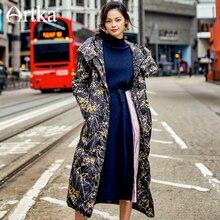 ARTKA nouvelle série City femmes duvet dhiver longue 90% duvet de canard blanc épais chaud mince à capuche peinture florale ZK10376D