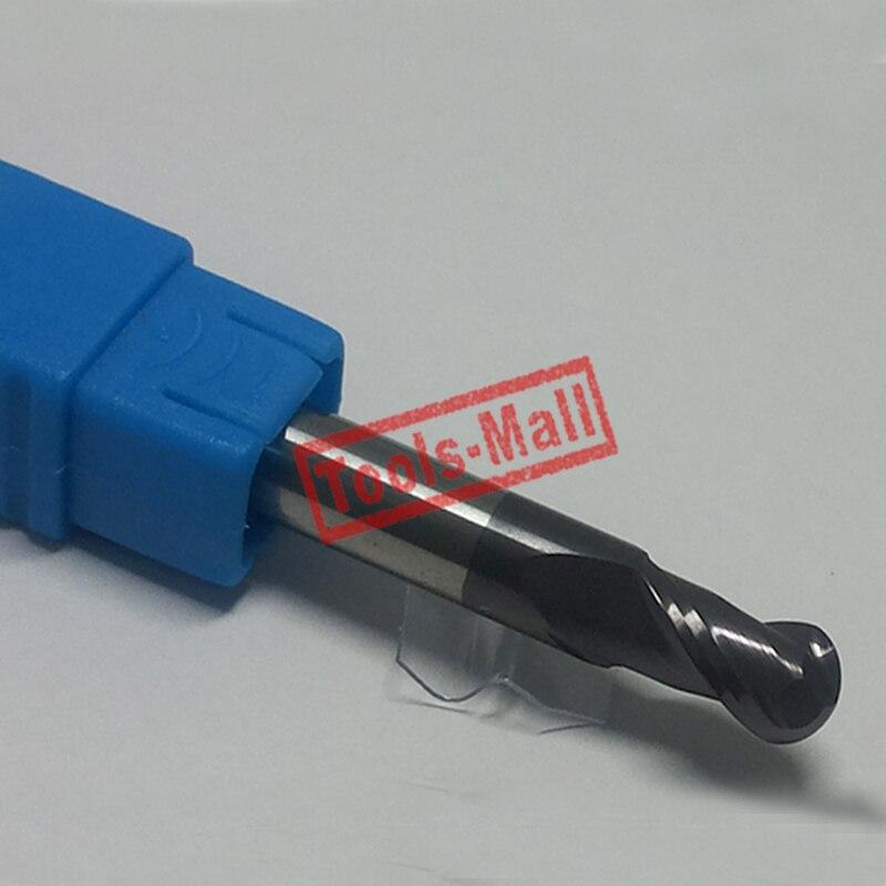 1 pc radio = 3mm 2 flautas hrc55 R3 * 12 * D6 * 50 de carburo sólido nariz de la bola herramienta de fresado de brocas de enrutador CNC de molino de extremo