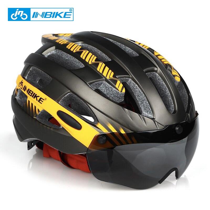 INBIKE Cycling Helmet MTB Bike Goggles Helme Professional Mountain Racing Helmet Ciclismo Men Women Bicycle IN-MOLD Safely Cap