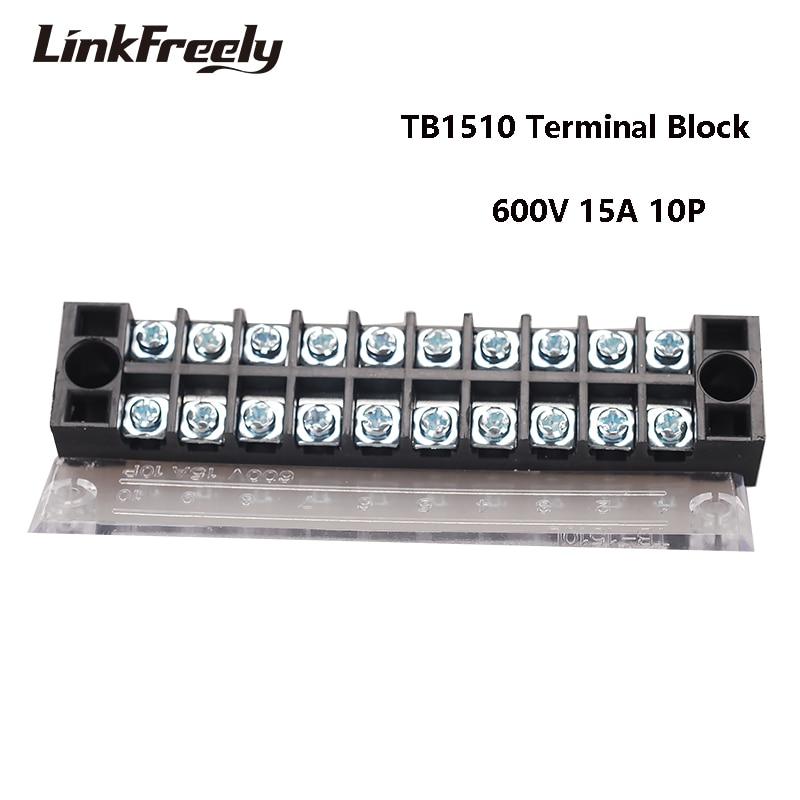 TB1510 10 pcs Dupla Row Screw Terminal Faixa 10 p 15A/600 v Crimp Terminal Conector Do Fio Elétrico Rápido TB 25A 45A Terminais