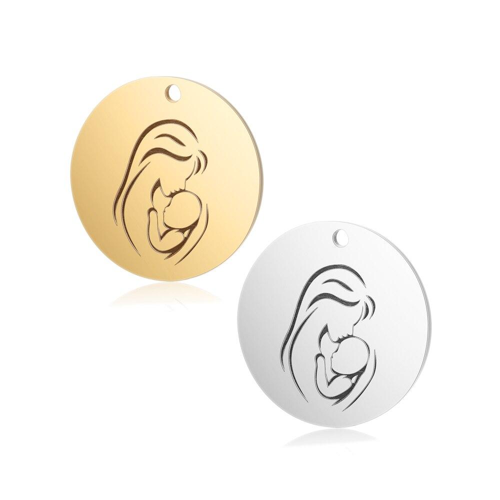 30 unids/lote 25mm de diámetro redondo Mama & Baby espejo polaco encanto colgante para el día de la madre accesorios de acero inoxidable oro encanto