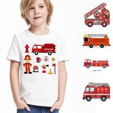 2018 neue Sommer Baby Jungen Mädchen Feuerwehrmann Kleidung Kurzarm Oansatz T Shirt Reine Baumwolle Feuer Lkw T-shirt Marke T tops Unisex