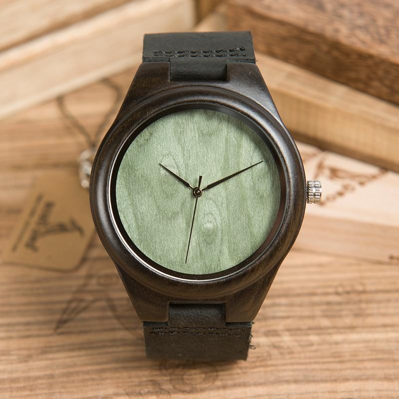 Мужские часы BOBO BIRD, кварцевые часы из натуральной кожи с зеленым циферблатом и логотипом на заказ, простой стиль, B-F04