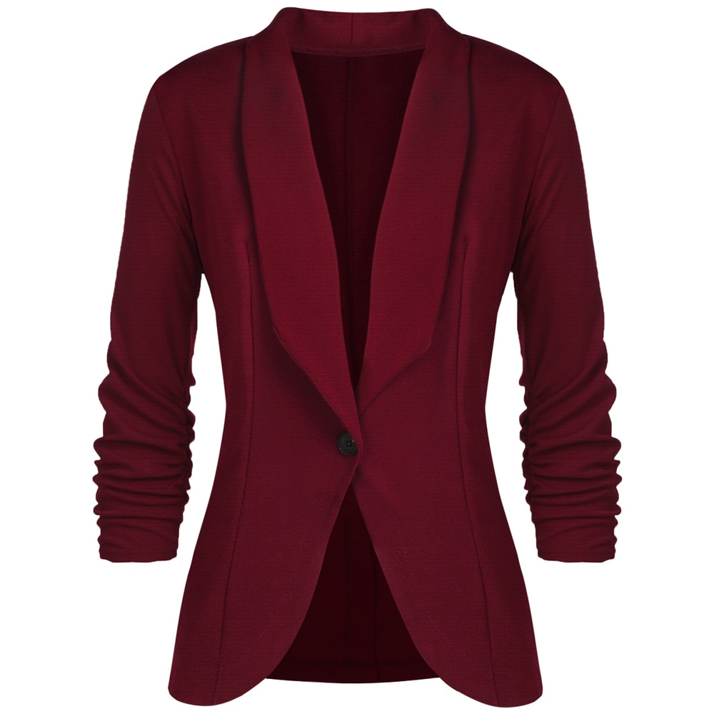 2020 Spring Basic Jackets Coat Women Autumn Slim Blazers Long Sleeve Single Button Notched Blazers Black Office Lady Work Suit