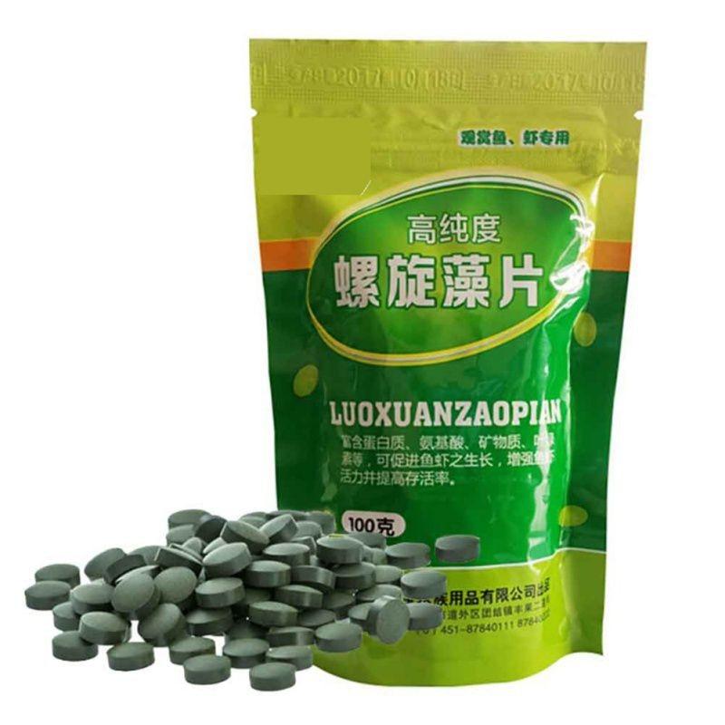 Tabletas de algas espirulina para alimento de peces verdes en bolsa de 100 gramos
