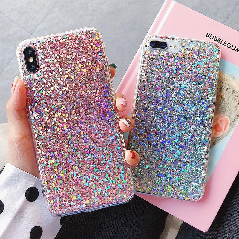Carcasa bonita de lentejuelas brillantes y brillantes para Apple iPhone X XS MAX XR 5 5S SE 6 S 7 Plus 6 s 8, fina funda de silicona TPU suave transparente