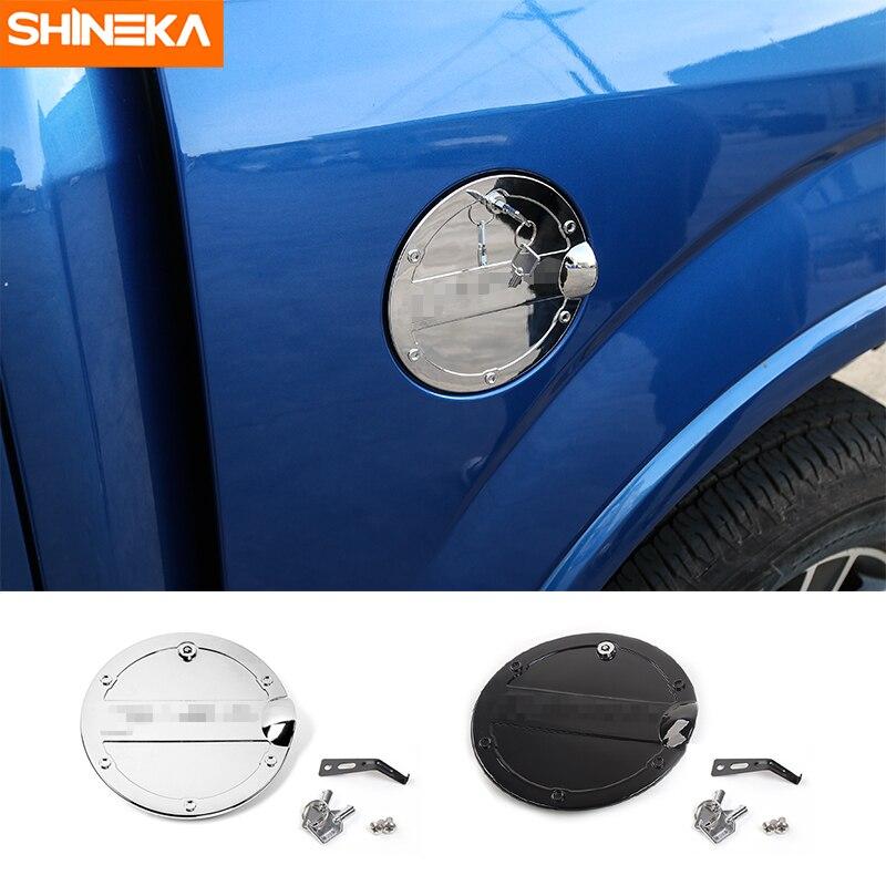 Cubiertas de tanque SHINEKA para Ford F150 tapa de cubierta de tanque de combustible de Gas Exterior de coche con accesorios de bloqueo de llave para Ford F150 2015 Up