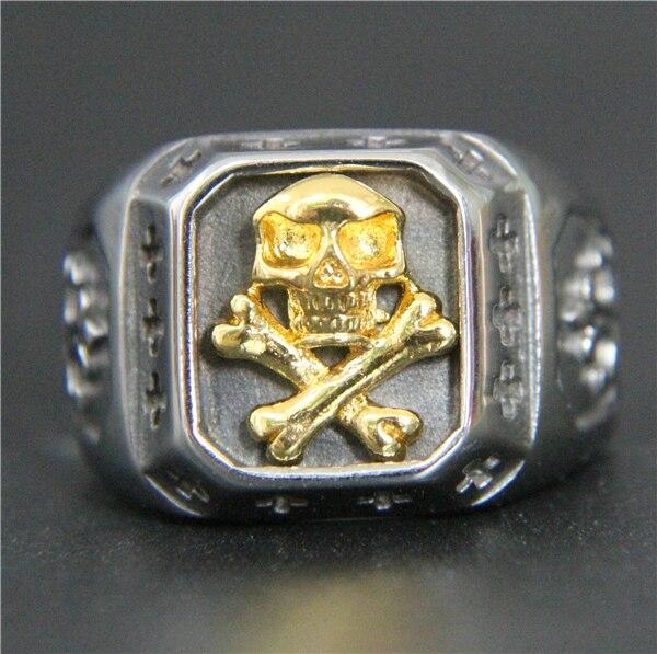 2017 legal cruz osso crânio anel 316l aço inoxidável moda masculina ouro moda jesus cruz crânio anel