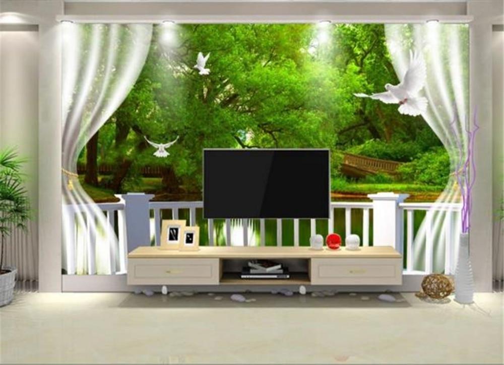 Papel pintado 3d personalizado cualquier tamaño 3D ventana puente agua paloma interior TV Fondo decoración Mural papel pintado