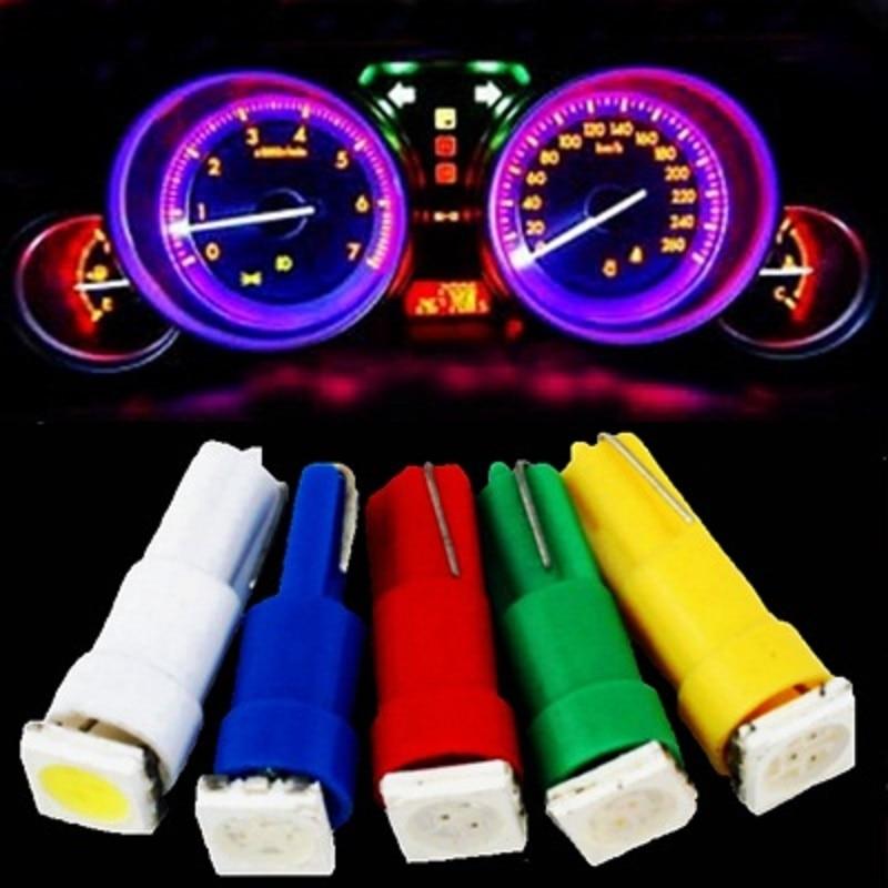 5 uds T5 37 58 70 73 74 1 SMD 5050 lámpara Led de calibre velocímetro del salpicadero bombilla del salpicadero del tablero de instrumentos luz 12v azul rojo verde blanco amarillo
