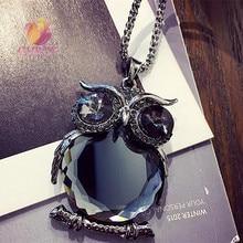 Vente chaude cristal sauvage hibou pendentif collier femmes bijoux en gros