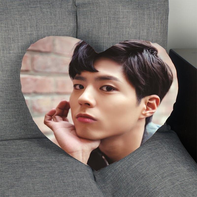 Funda de almohada en forma de corazón Park Bo Gum, funda de almohada personalizada con cremallera, funda sin núcleo, tamaño 41x36cm,47x42cm