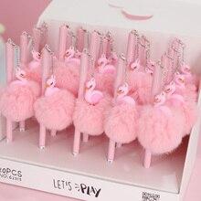 1pc rose Flamingo Gel stylo belle peluche cygne stylos pour lécole écriture fille cadeaux Kawaii neutre stylos fournitures scolaires papeterie