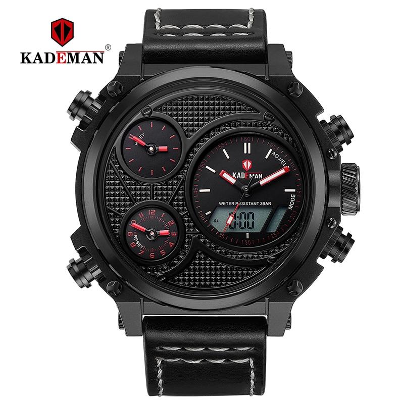 KADEMAN Luxury Mens Watches LED Display Casual Leather Wrist Waterproof Alarm Sport Date Digital Brand Relogio Masculino