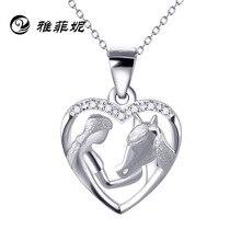 Explosion chaude fille alimentation cheval pendentif en forme de coeur collier s925 argent accessoires pour cadeau de fête des mères