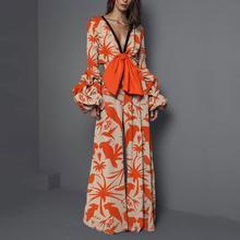 2019 Women Knot Printing Jumpsuit Romper Long Sleeve V Neck Casual Playsuit Overalls Ladies Wide Leg Loose Orange Playsuit