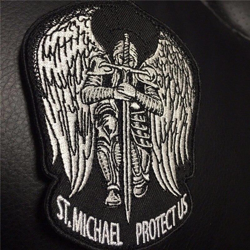 St Saint San Miguel nos protege nos bordado moral parche de táctica militar ejército operador parches con sujetadores de gancho y bucle de respaldo