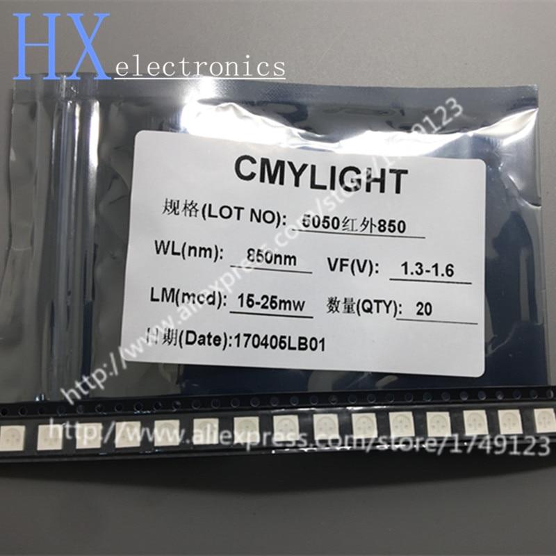 مكون LED بالأشعة تحت الحمراء, شحن مجاني 200 قطعة 850nm مكون LED 5050 SMD IR ديود