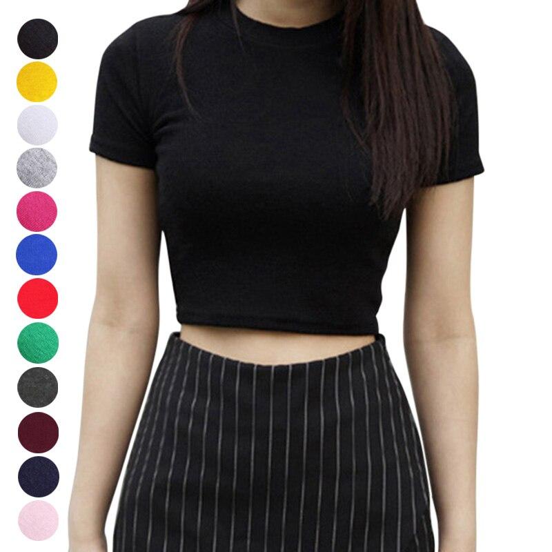 Mujeres verano Camisetas cuello redondo de manga corta ajustado Fit Casual Pullover Crop Tops AIC88