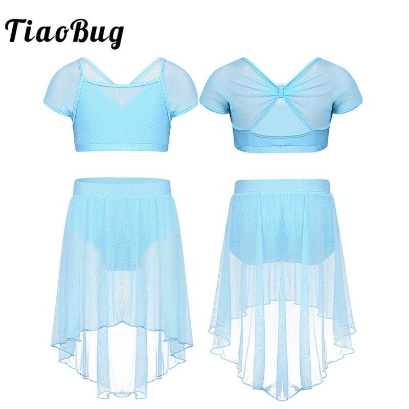 TiaoBug niños adolescentes de malla empalme manga falda tutú de ballet con cultivos Top shorts de gimnasia superior trajes de baile lírico conjunto