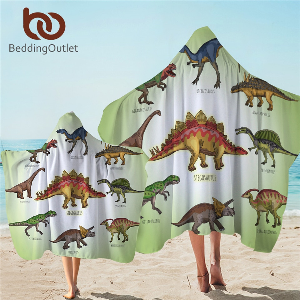 Beddingport ديناصور مقنعين منشفة للأطفال منشفة استحمام ستوكات الجوراسي مع هود الكرتون الأولاد يمكن ارتداؤها السفر الشاطئ منشفة