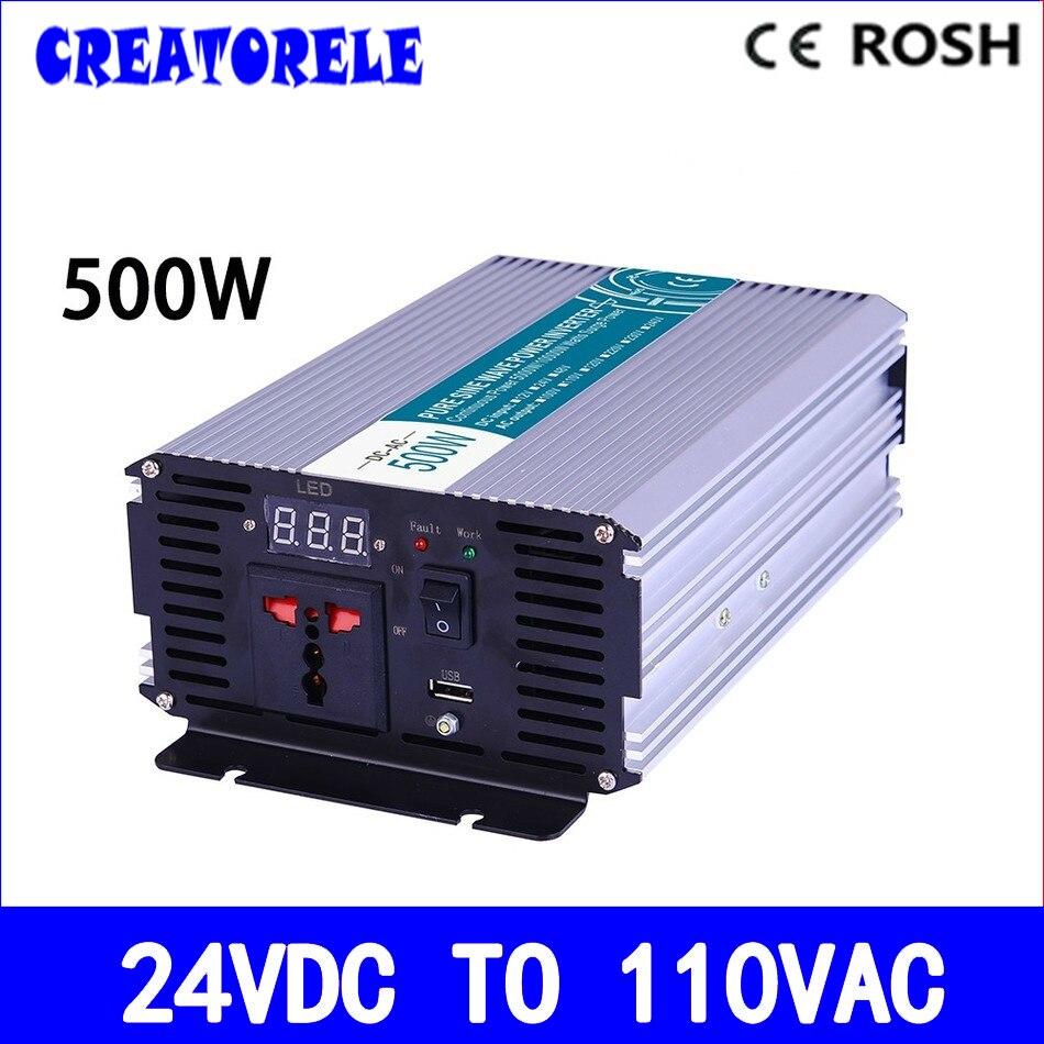 Inversor de energía de onda sinusoidal pura P500-241 de 500W convertidor de voltaje de 24v a 110v inversor solar, pantalla LED, potencia total para uso doméstico