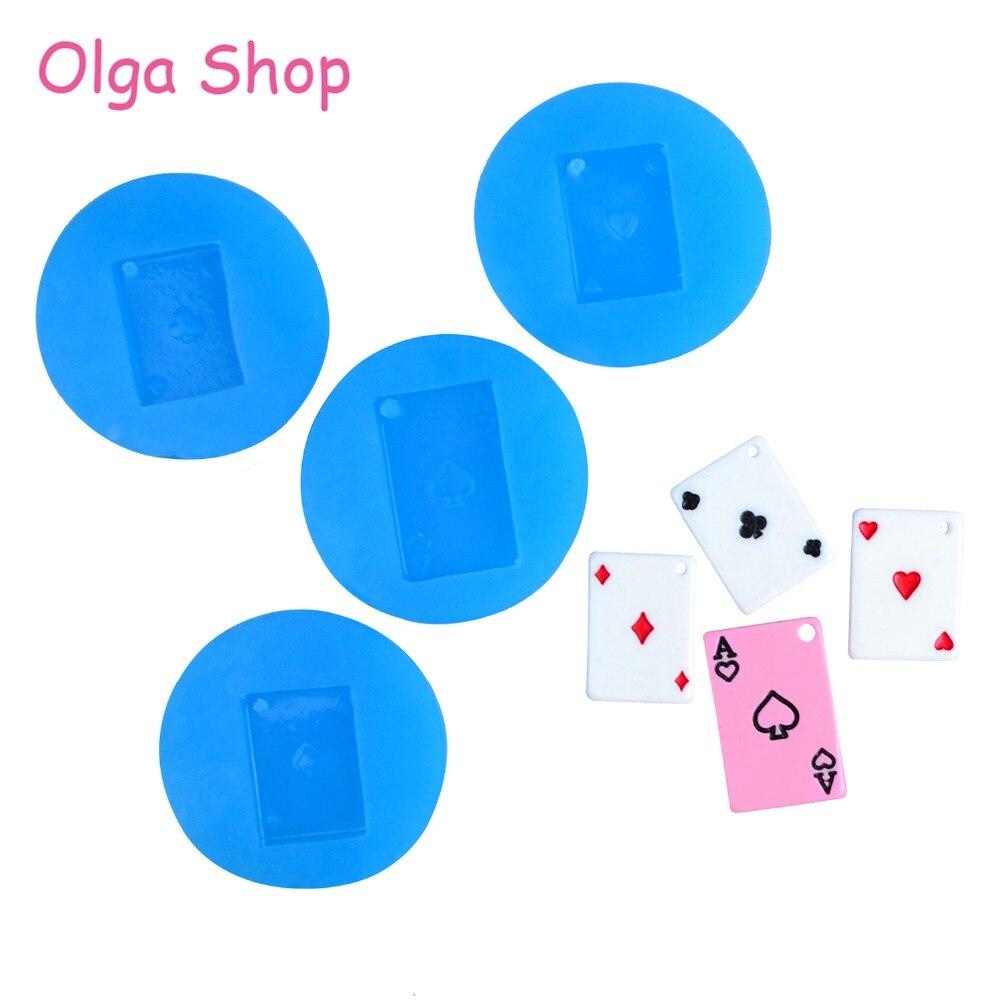 PYL701,PYL704,PYL705,PYL706 Tarjeta de póker molde de silicona para colgantes Ace of Diamonds Heart Clubs naipes, Molde de resina para galletas