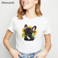 Harajuku Kawaii bouledogue français/Boston Terrier/Yorkie FU/berger allemand/Chihuahua/carlin chien fleurs imprimer t-shirt femmes hauts