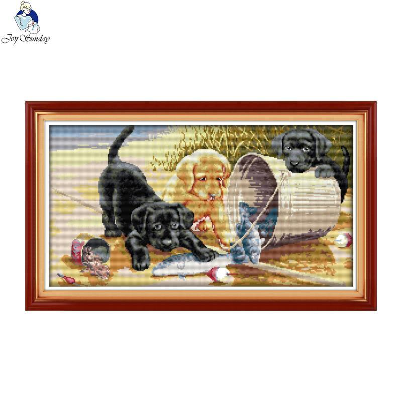 Joy Sunday tres perros 4 cuentas DIY mano punto de cruz 11CT 14CT tela de estampado de DMC para bordado conjunto decoración del hogar costura