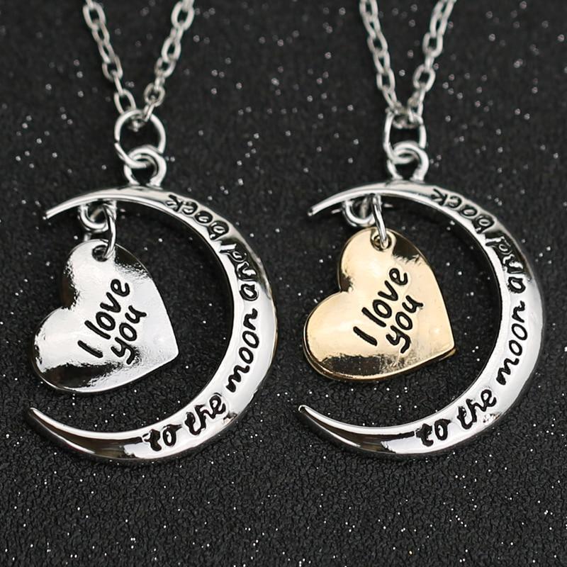 Collar I love You To The Moon And Back con letras simples, corazón, amor, oro, plata, colgante, joyería de moda para mujer al por mayor