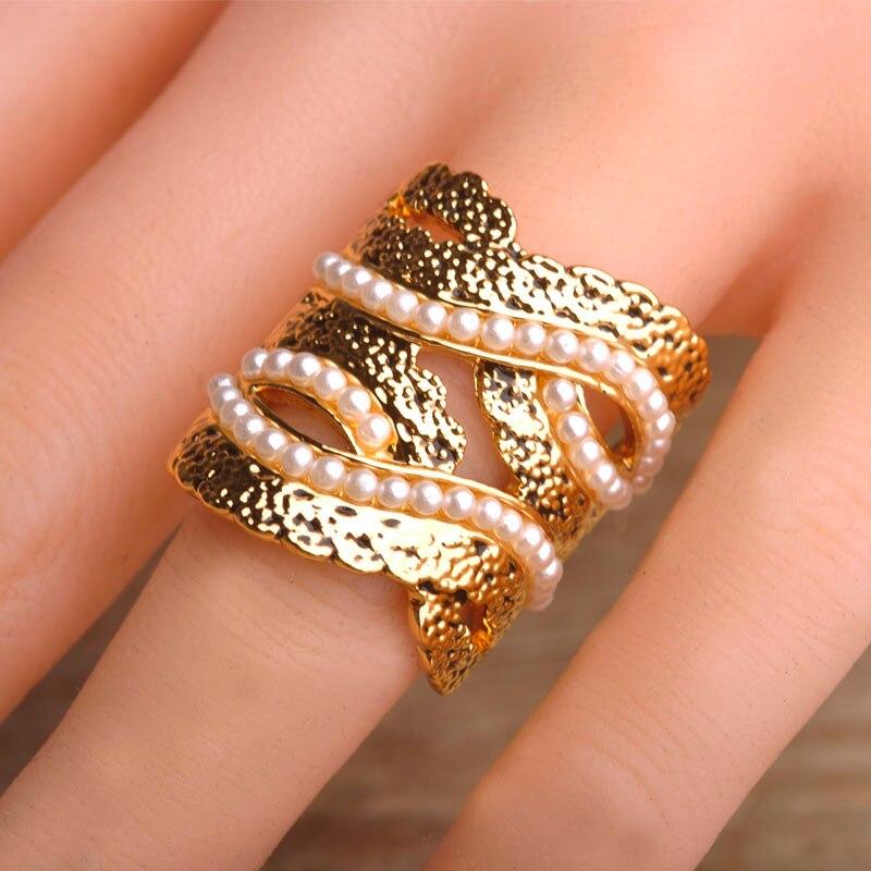 Imitation perle grand large anneaux carrés couleur or conception Unique femmes Bague de doigt décoration Bague bijoux Anel feminino royaume-uni
