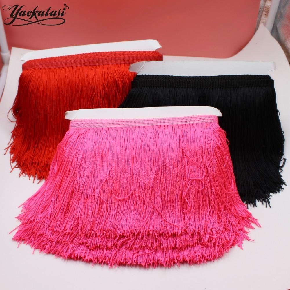 Flecos de poliéster YACKALASI, falda de baile latino con borla gruesa, banda doble, recorte de Samba de 20cm de largo/9,8-10 metros de una pieza