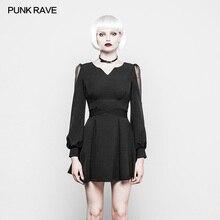 Punk Rave Fashion Casual New Black Cotton V Collar Mini Summer Sexy Dress OPQ298