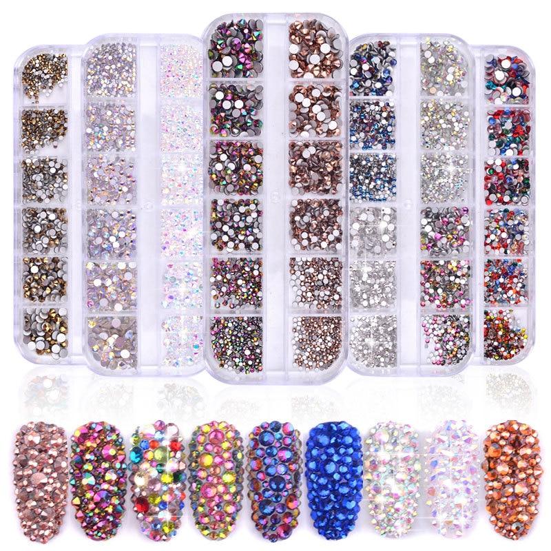 1 чехол разных размеров AB плоские Стразы для ногтей разноцветные блестящие круглые алмазные SS4-SS16 3D украшения ногтей УФ гель для ногтей Деко...