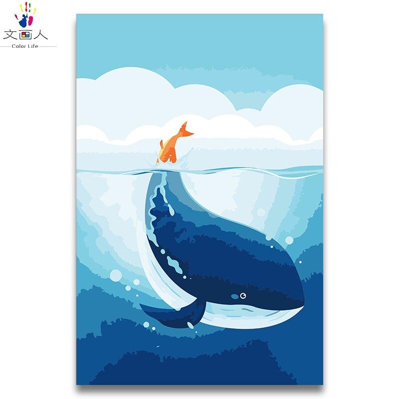Pintura Digital por números ballena cola roja pintura al óleo por números dibujos animados anime ballena océano bonito agua animal niños pintura