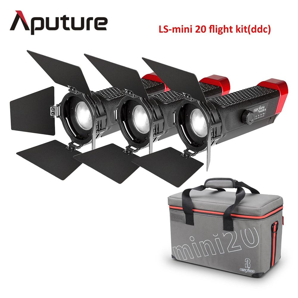 Aputure ¿Mini 20 3-Kit de luz dos mini 20d y una mini 20c LED Luz de Fresnel TLCI CRI 96 + 40000lux@0.5m con batería y caso
