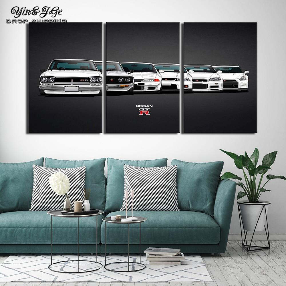 Pintura en lienzo con impresión en HD, ilustraciones modulares modernas de 3 piezas, imágenes de coche de la línea del Skyline de Nisa Gtr, póster único decorativo para pared del hogar