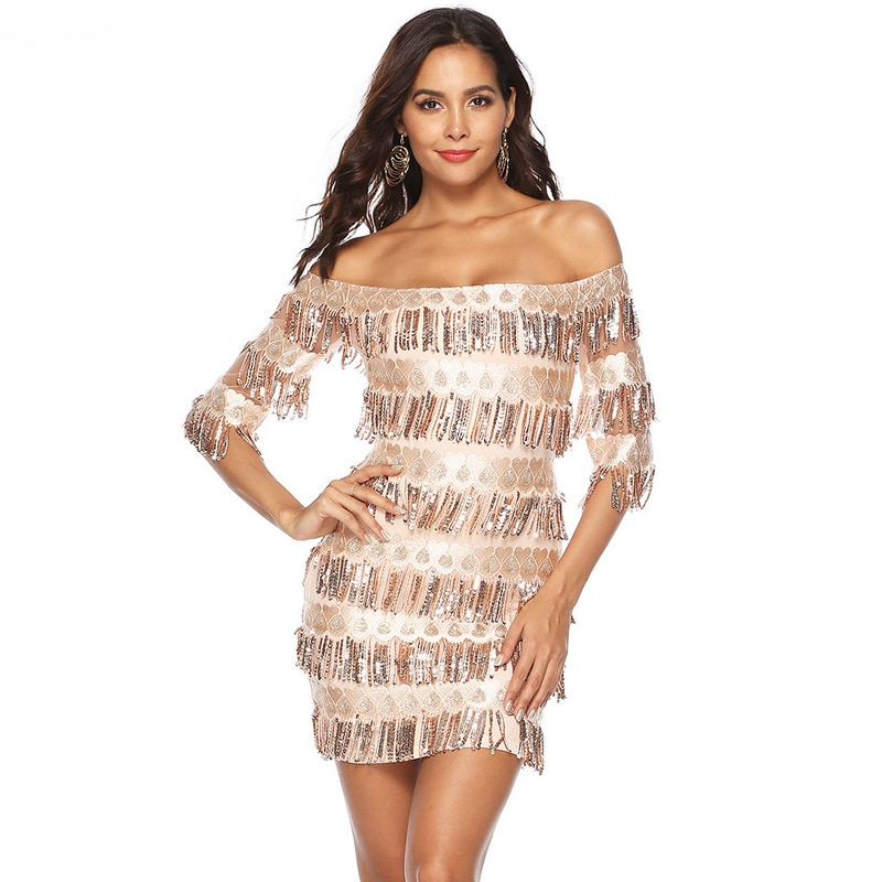 Vestidos de noche de verano con lentejuelas para mujer, vestidos informales de fiesta rockabilly sexy, vestido de fiesta con flecos, vestido de talla grande con un solo cuello