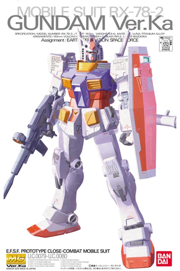 Bandai Gundam MG 1/100 RX-78-2 Ver Ka traje móvil montar modelo Kits de figuras de acción Juguetes