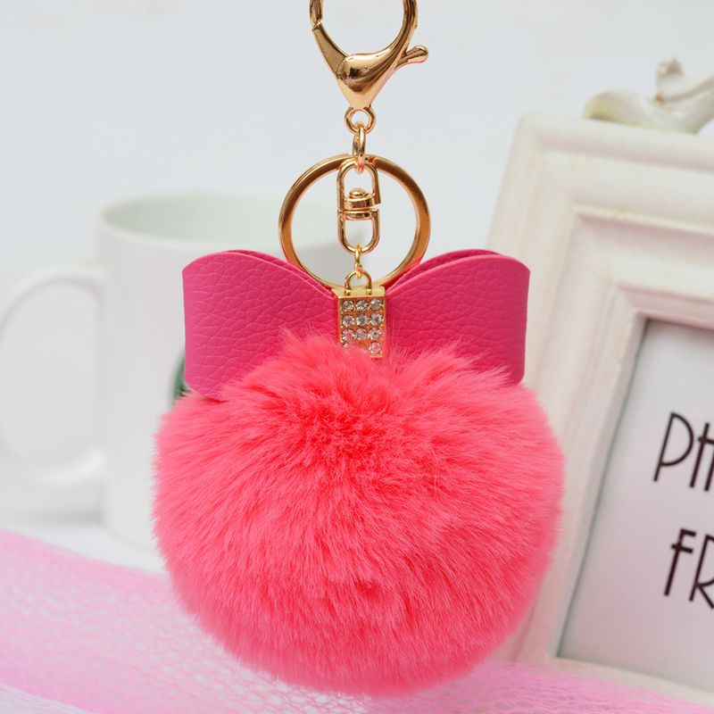 Mignon pendentif noeud papillon fourrure de lapin Pom Pom porte-clés en vrac moelleux porte-clés en peluche cristal cuir voiture porte-clés Porte Clef Llaveros
