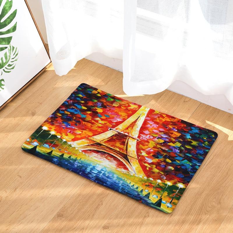 Tapis de paysage de rue et de nuit   CAMMITEVER, peinture à lhuile de France, tour de Paris, tapis de porte de cuisine, tapis dextérieur