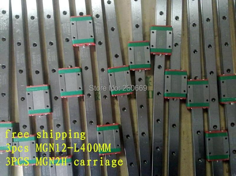 Envío gratis Kossel Mini MGN12 12 mm linear miniatura ferrocarril de diapositivas = 3 unids 12 mm L-400mm rail 3 unids MGN12H carro para X Y Z Axies