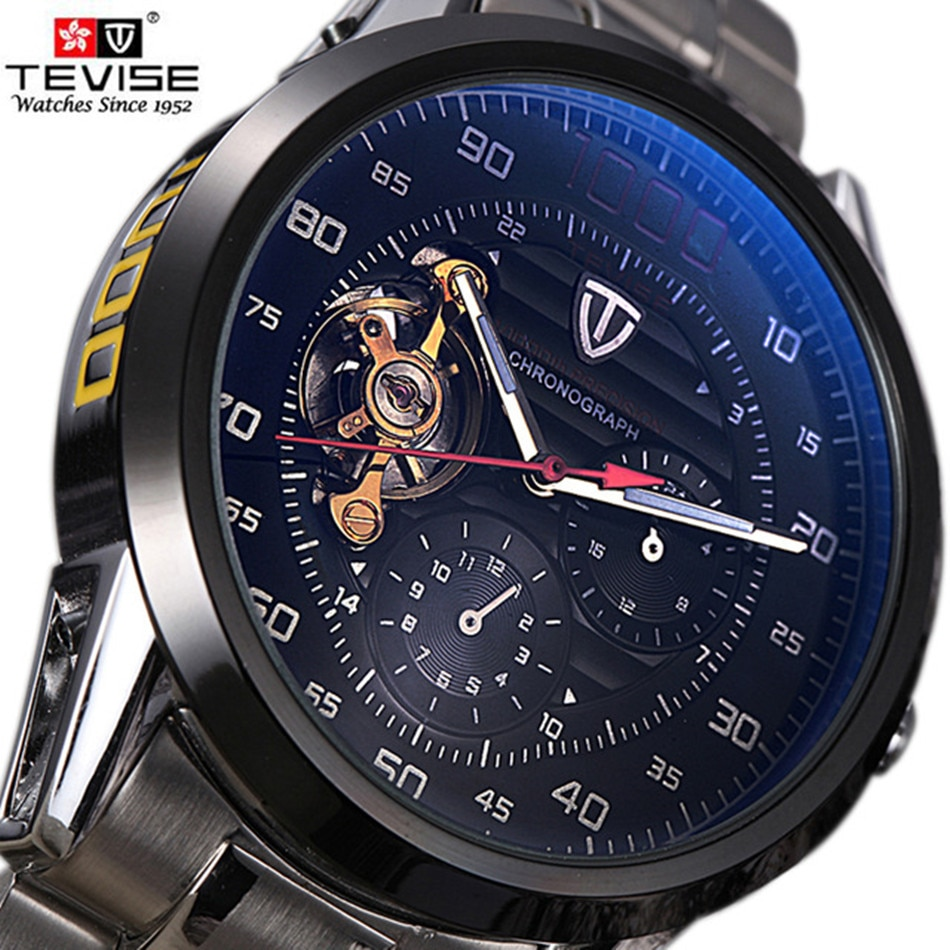 Brand TEVISE Men Watch Automatic Mechanical Watches Big Dial Clock Mens Wristwatches Military Steel