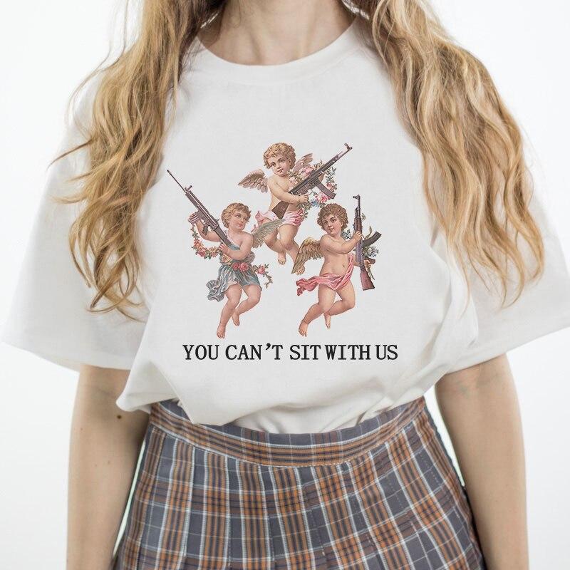 Usted no puede sentarse con nosotros tres ángeles letra imprimir Tops divertida camiseta verano mujeres moda Casual camiseta Harajuku camisetas sueltas
