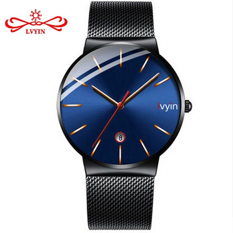 LVYIN специальные 2.5D выпуклые стеклянные кварцевые часы мужские стальные сетчатые часы календарь наручные часы простые синие бизнес часы Ана...