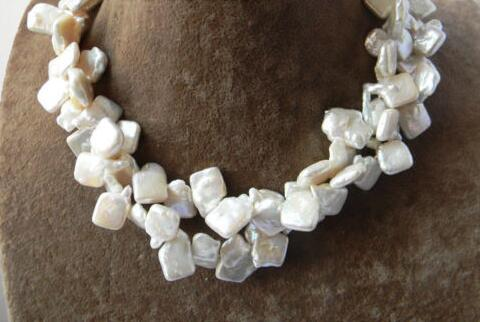 nature 2Strands 17'' 13mmx18mm Baroque White Freshwater Pearl Necklace