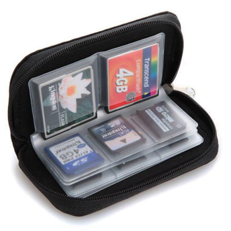 Women Man Potable 22 Cards Slot SD SDHC MMC CF Micro SD Memory Card Storage Carrying Pouch Nylon Zipper Bag Case Holder Wallet