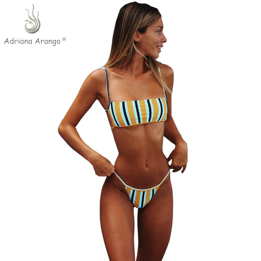 NAVSEGDA 2019 Bikini rayado Bandeau Bikini brasileño Tanga sólido traje de baño para mujeres verano traje de baño playa