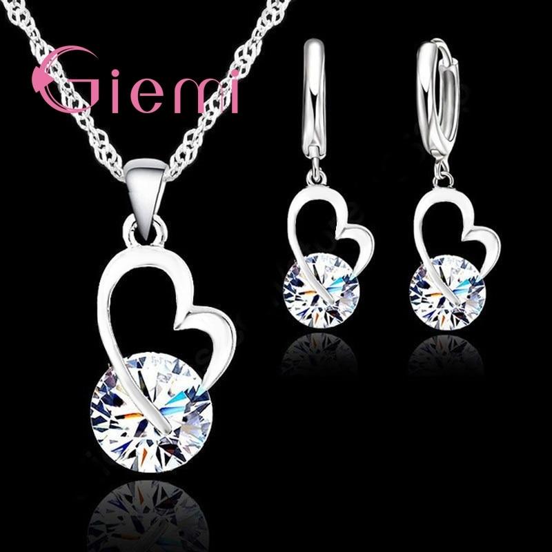 Elegant Heart Wedding Jewelry Set For Women 925 Sterling Silver Anniversary Gift Charm Pendant Necklace Hoop Earrings