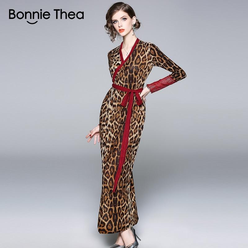 Bonnie Thea women sexy Leopard autumn dress Sheath elegant maxi dress boho bodycon party dresses formal fashion vestido 2018